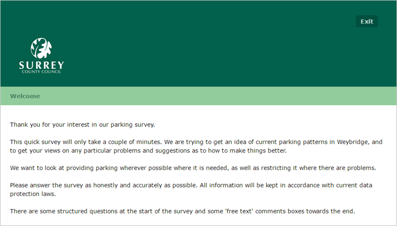 scc weybridge parking review survey - Deadline 17 Jan 2016